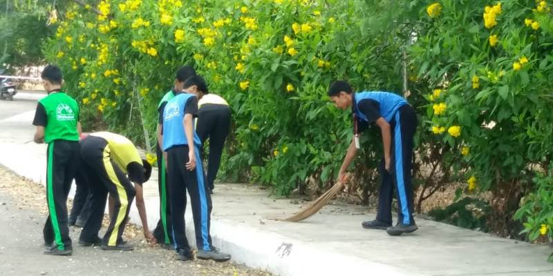 Cleaning school area