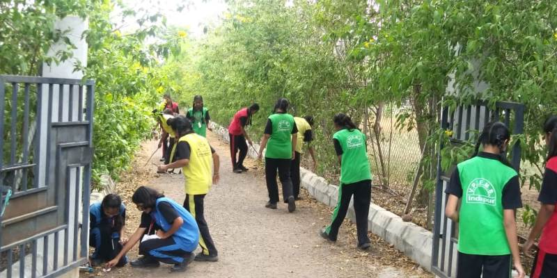 Cleaning school campus