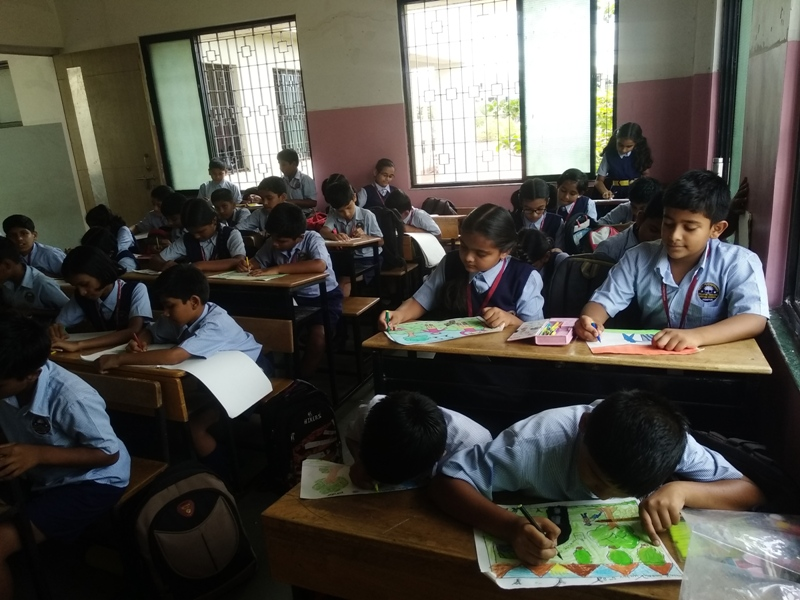 Student during painting competition