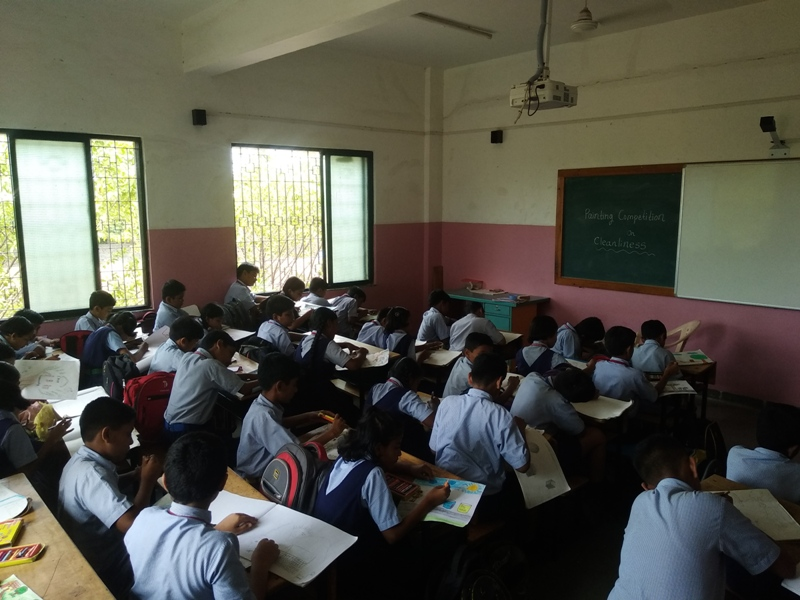 Students during painting competition