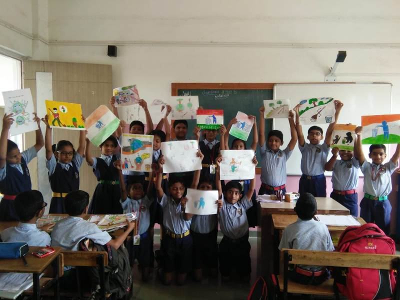 students in painting competition