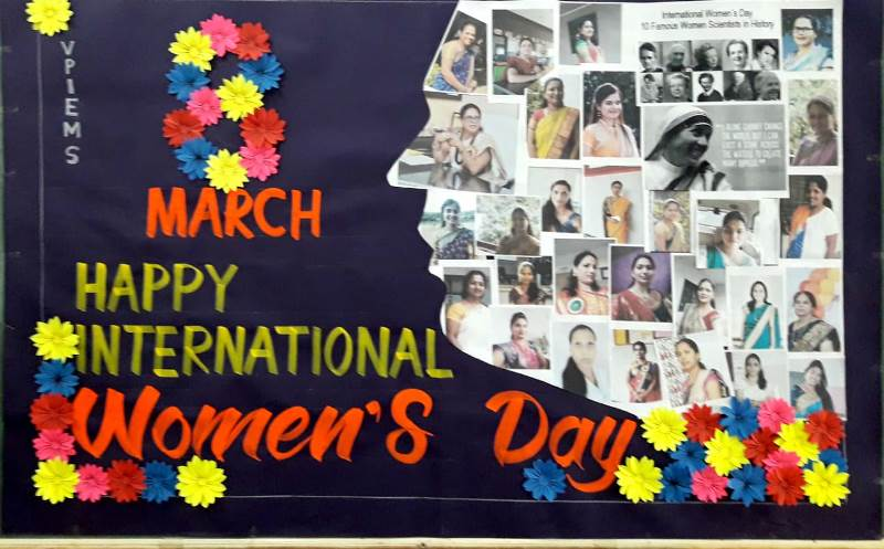 Collage made by Drawing Teacher Mr. Birudev Naykude on account of Women\'s Day Celebration