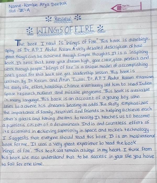 On Account Of Readiing Week Activity Book Review. Std - IX - A Kamble Arya