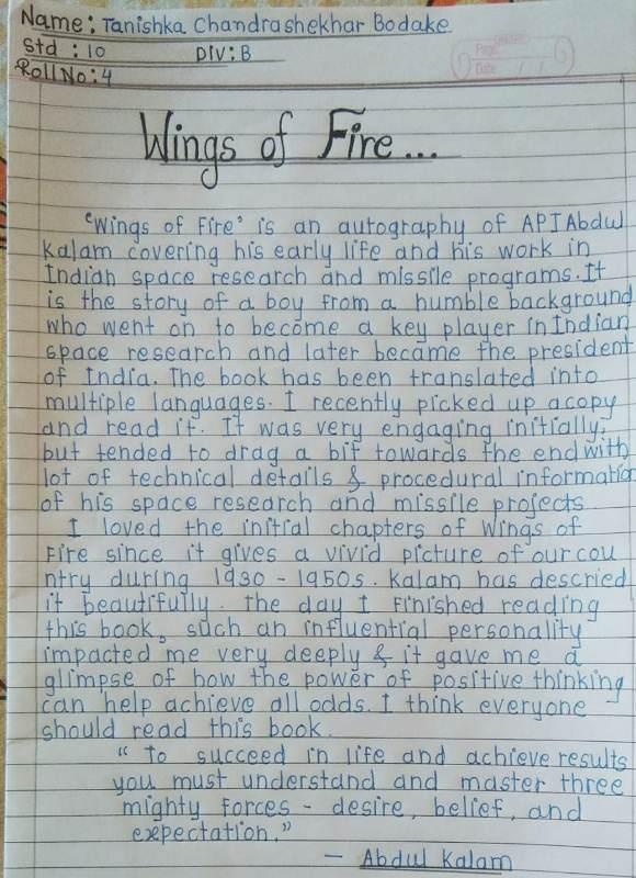 On Account Of Readiing Week Activity Book Review. Std - X - B Tanishka Bodake