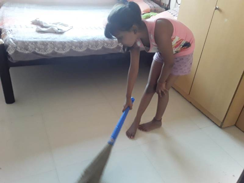 Dueva patil from IIIB is cleaning her house38
