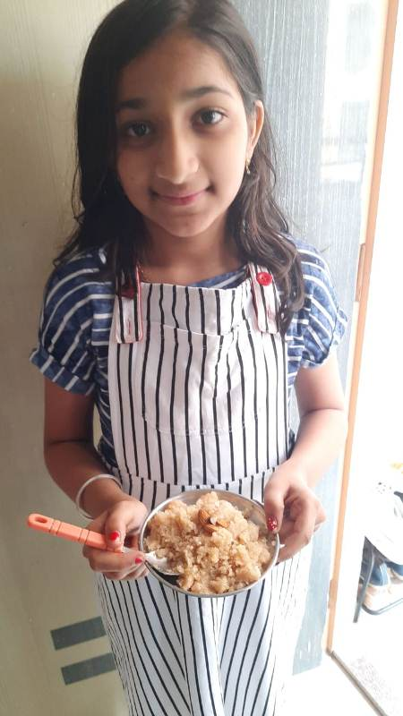 Miss. Sai Vajrinkar Std - V-A Made sweet dish (Shira) on the occasion of Bhondla Celebratin