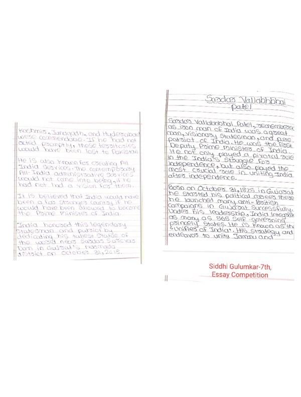 Siddhi Gulumkar, 7th, Essay Competition