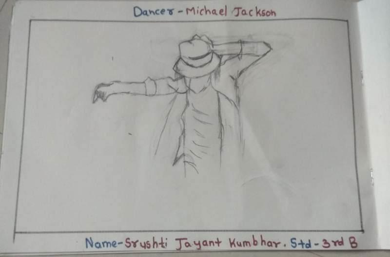 Srushthi Jayant Kumbhar draw sketch On Account of World Dance Day